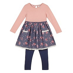 Mantaray - Girls' pink floral dress and blue leggings set
