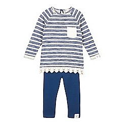 Mantaray - Girls' navy striped lace trim jumper and leggings set