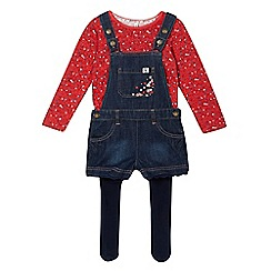 Mantaray - Girls' blue denim dungaree, floral top and tights set