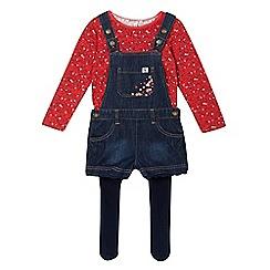 Mantaray - Girls' blue denim dungaree, floral top and tights set