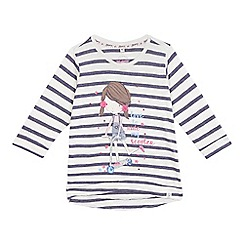 Mantaray - Girls' white striped scooter print t-shirt