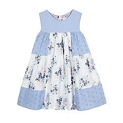 Mantaray - Girls' blue broderie patchwork dress