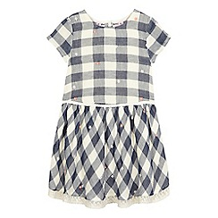 Mantaray - Girls' blue gingham check print woven dress