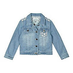 Mantaray - Girls' light blue lace insert denim jacket