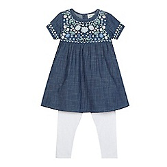 Mantaray - Girls' blue floral applique dress and leggings set
