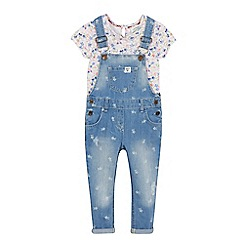 Mantaray - Girls' blue floral print dungarees and top set