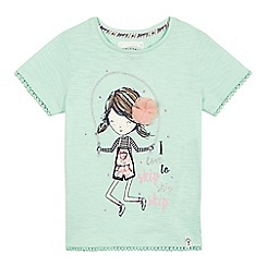 Mantaray - Girls' light green skipping girl print t-shirt