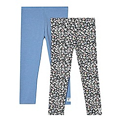 Mantaray - Pack of two girls' blue and navy floral print leggings