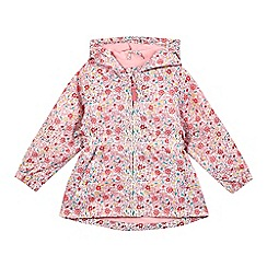 bluezoo - Girls' pink floral print lightweight hooded coat