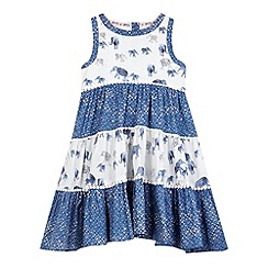 Mantaray - Girls' blue elephant print hanky hem dress
