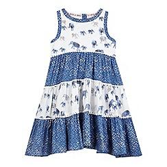 Mantaray - Girls' blue elephant print hanky hem dress