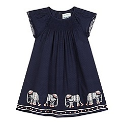 Mantaray - Girls' navy stitched elephant detail dress