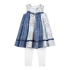 Mantaray - Girls' blue floral print dress and white leggings set
