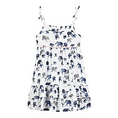 Mantaray - Girls' white elephant print tiered hem dress