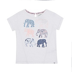 Mantaray - Girls' white sequin elephant print t-shirt