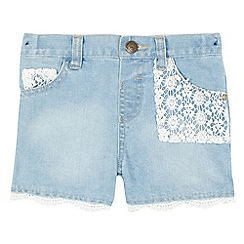 Mantaray - Girls' blue lace denim shorts