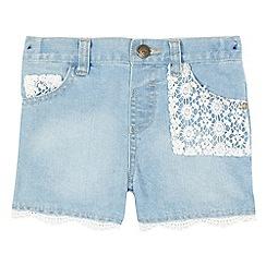 Mantaray - Girls' blue lace denim shorts