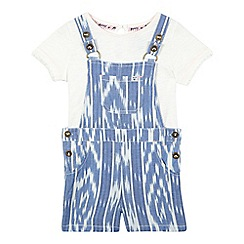 Mantaray - Girls' blue aztec print dungaree set