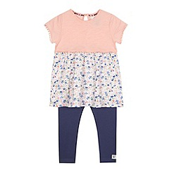 Mantaray - Girls' peach floral print tunic and leggings set