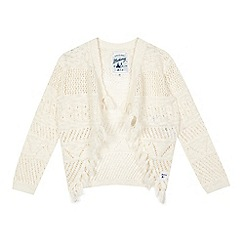 Mantaray - Girls' cream drape tassel cardigan