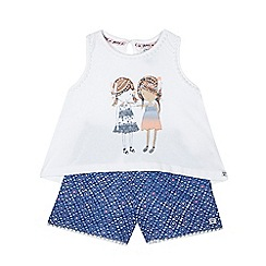 Mantaray - Girl's white girl print vest top and blue patterned shorts set