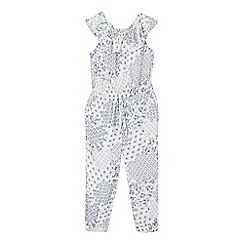 Mantaray - Girls' white floral patchwork print jumpsuit