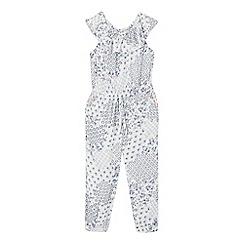 Mantaray - Girls' white floral patchwork print jumpsuit