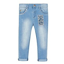 Mantaray - Girls' blue patchwork applique jeans