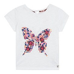 Mantaray - Girls' off white floral butterfly print t-shirt