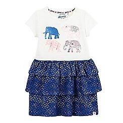Mantaray - Girls' blue applique elephant print rara dress