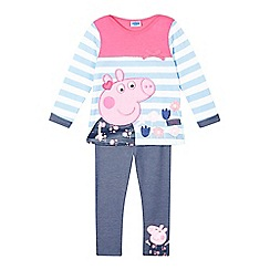 Peppa Pig - Girls' light blue striped 'Peppa Pig' top and leggings set