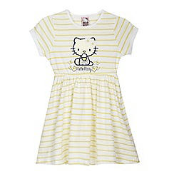 Hello Kitty - Girls' yellow and white striped print 'Hello Kitty' dress
