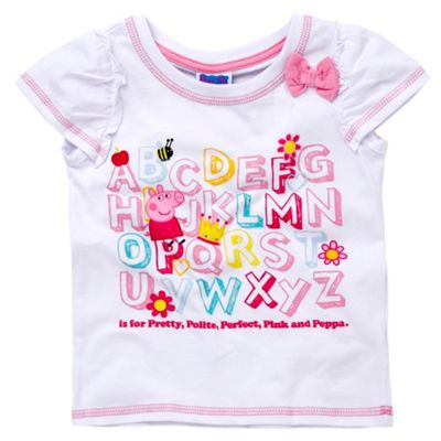 Character Girls white Peppa Pig alphabet print t-shirt product image