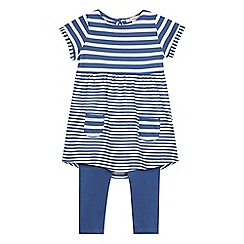 bluezoo - Girls' blue striped print dress and leggings set