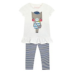 bluezoo - Girls' cream cat print t-shirt and striped leggings set