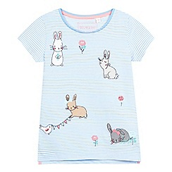 bluezoo - Girls' light blue striped print rabbit applique t-shirt