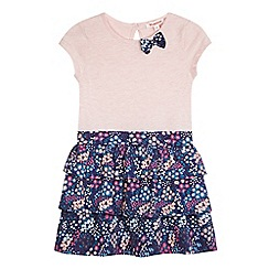 bluezoo - Girls' pink and navy floral print dress