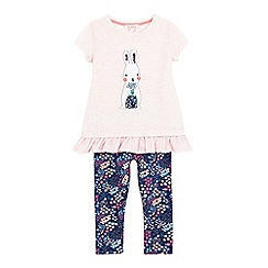 bluezoo - Girls' pink bunny print tunic and leggings set