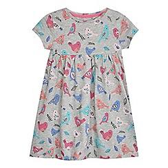 bluezoo - Girls' grey bird print dress