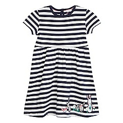 bluezoo - Girls' navy and white striped print rabbit applique dress