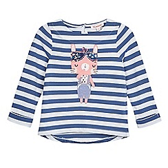 bluezoo - Girls' bunny applique striped print t-shirt
