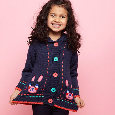 bluezoo - Girl+s navy rabbit pocket knitted cardigan