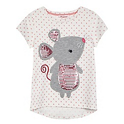 bluezoo - Girls' white and pink polka dot print mouse applique t-shirt