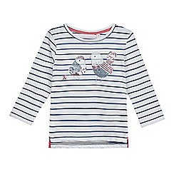 bluezoo - Girls' white and navy embellished bird applique top