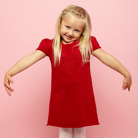 bluezoo - Girl+s red heart knitted dress and tights set