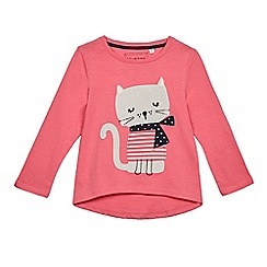bluezoo - Girls' pink cat applique top