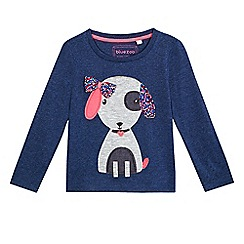 BLUE ZOO - Girls' blue dog applique top