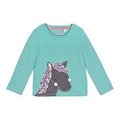 bluezoo - Girls' green horse applique top