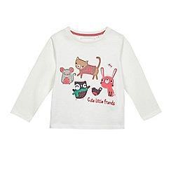 bluezoo - Girls' white animal applique t-shirt