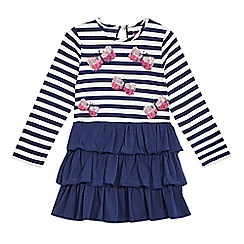 bluezoo - Girls' navy and white striped print dress